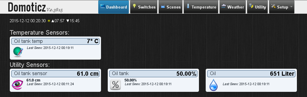 Domoticz displaying oil tank levels