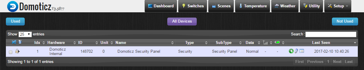 Internal Domoticz Security Panel