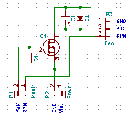 A simple MOSFET PWM fan driver circuit